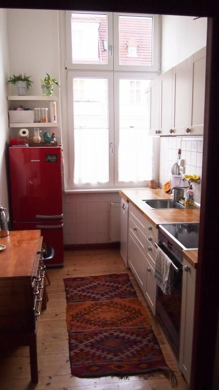 Gemütliche, kleine Küche in Herbstfarben in Berliner 1,5 - kleine küche l-form