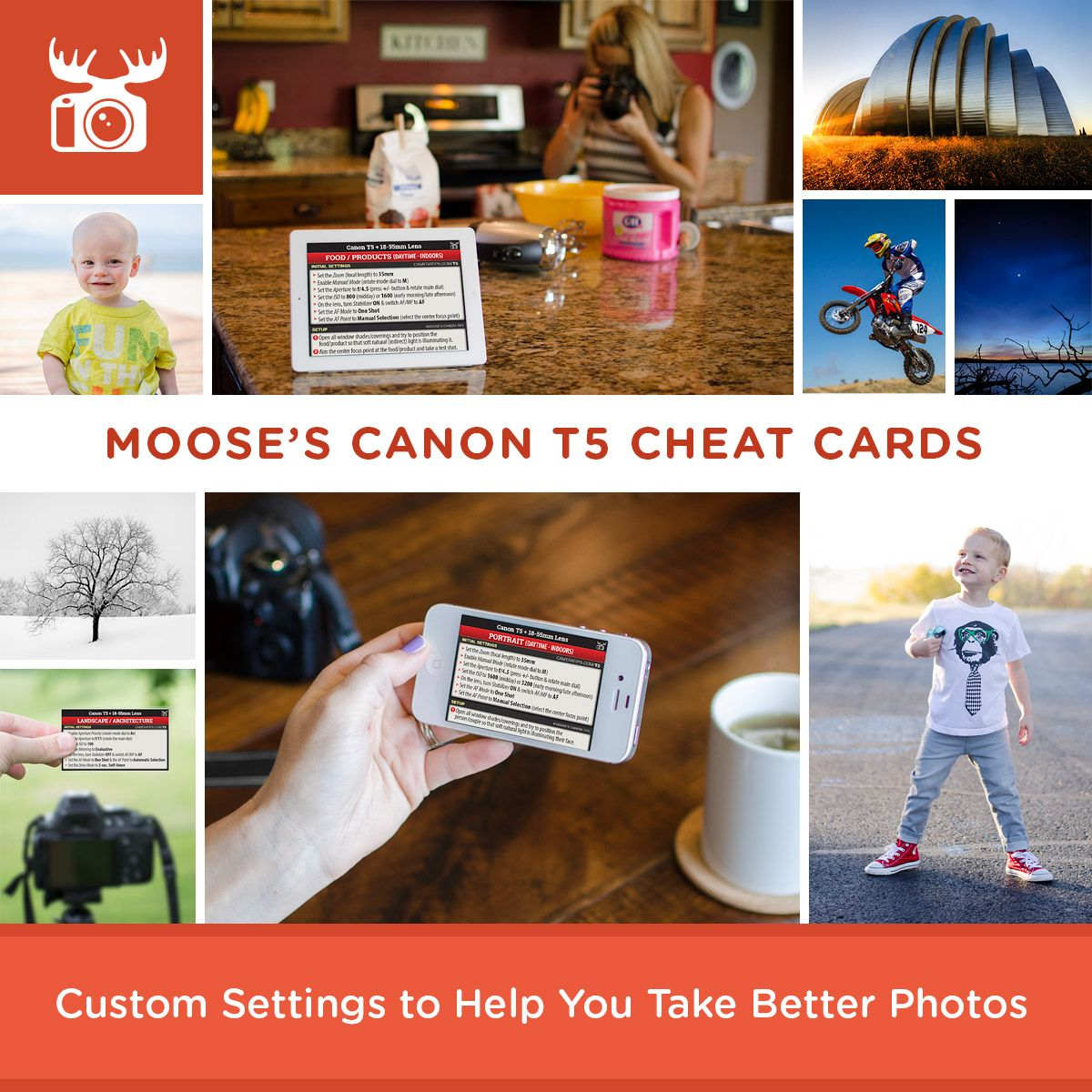 Moose's Canon T5 / 1200D Cheat Sheets for Beginners | canon tips