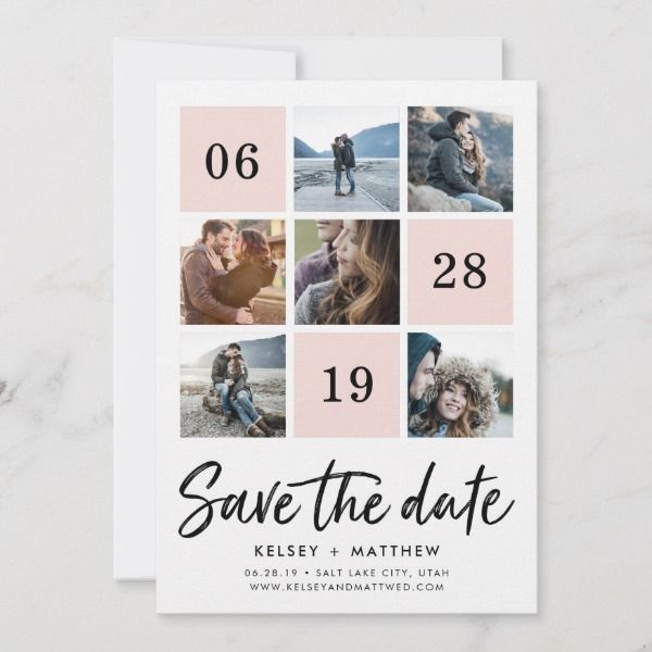Blush Grid Collage Photo Save The Date Save The Date Fotos