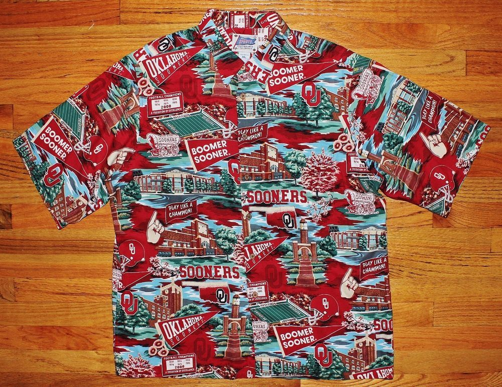 675f0fed0 Reyn Spooner Oklahoma Sooners OU Sports Hawaiian Shirt XL #ReynSpooner  #ButtonFront