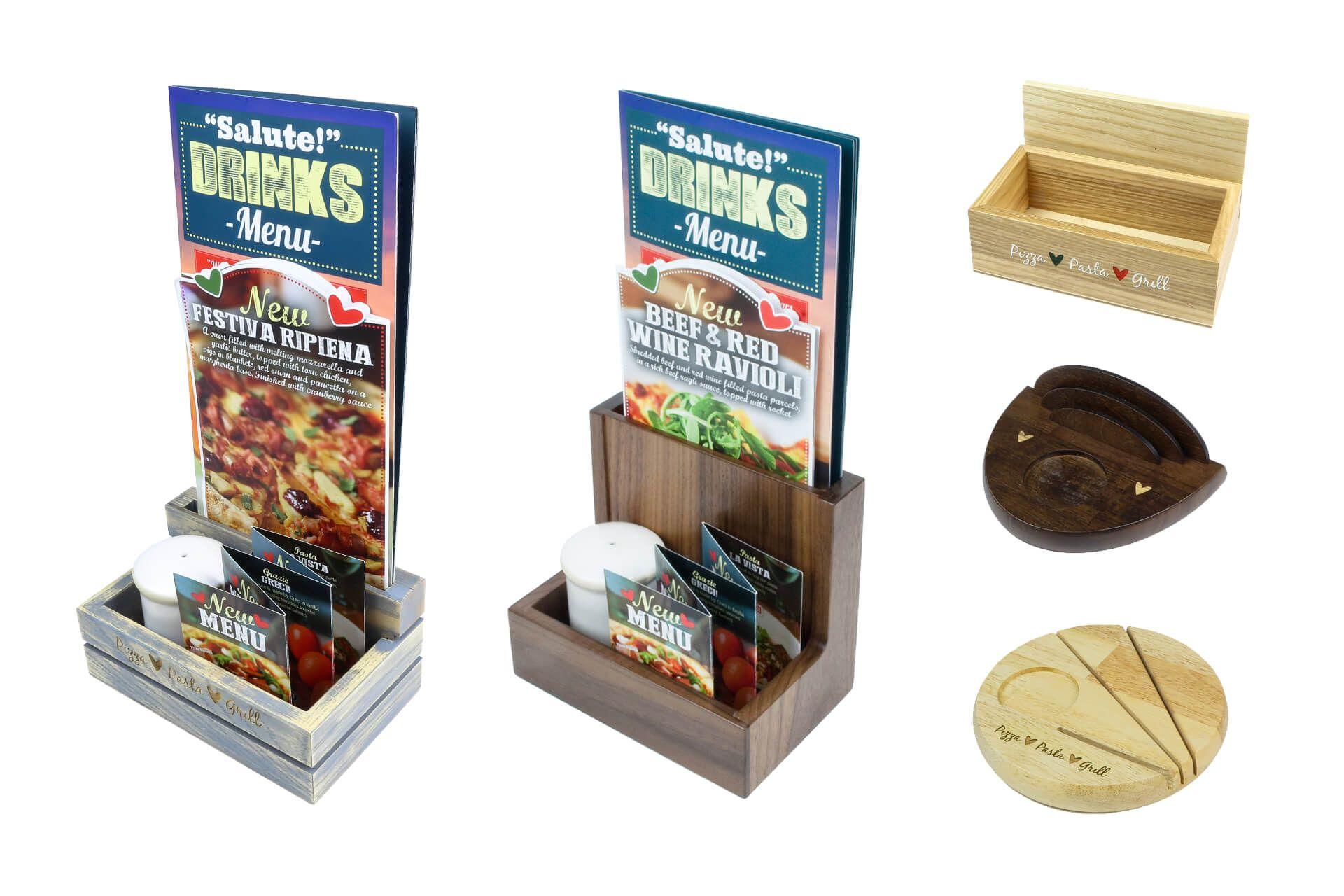 Custom Table Menu Holders Wooden Table Top Stand Restaurant Decor - Table menu holders for restaurants
