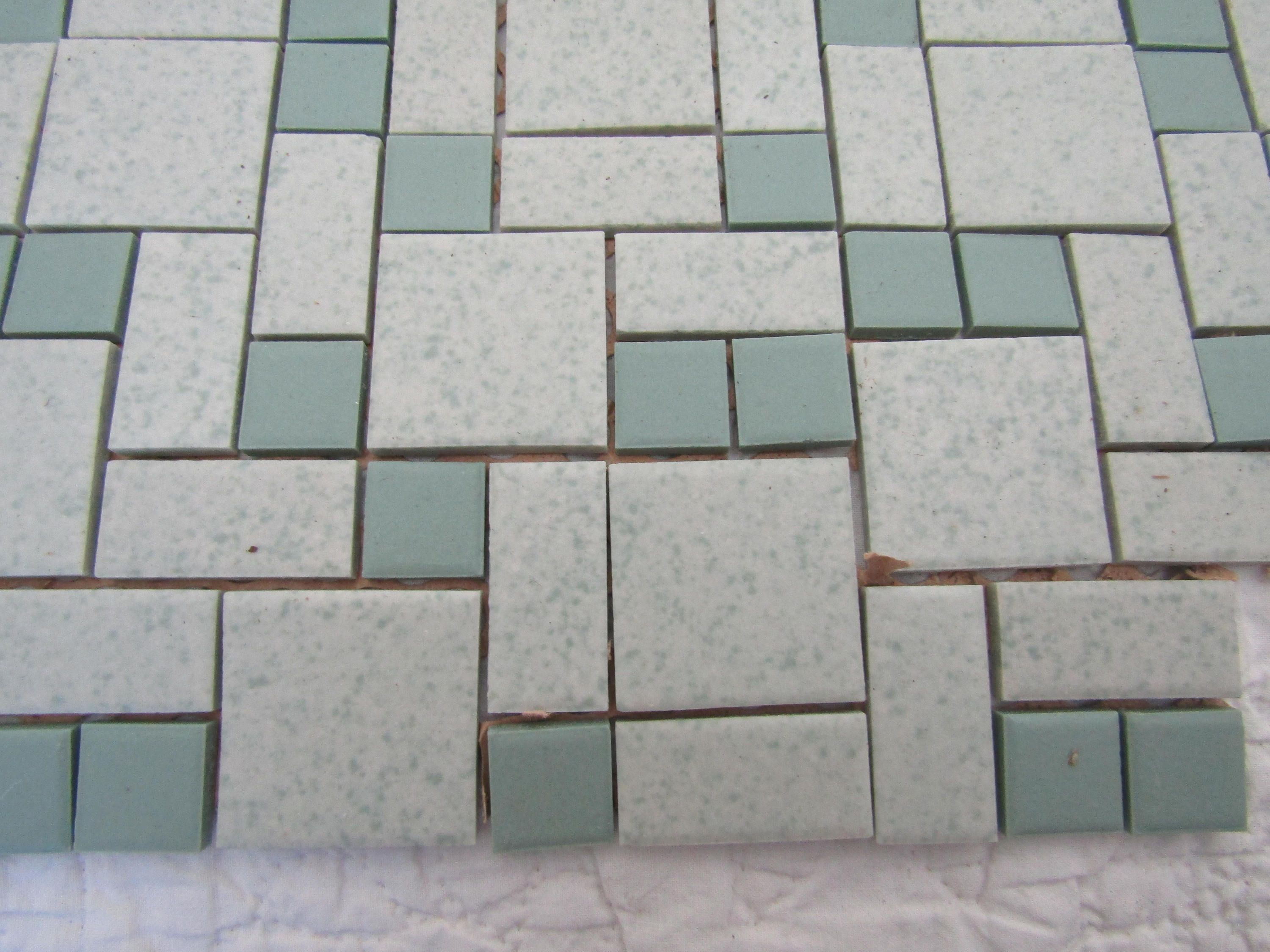 Vintage Ceramic Tile Small 1 X Tiles Speckled Nos Greens Full By