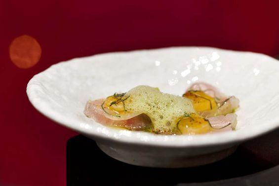 Looks brilliant: Kanpachi with satsuma orange, pepperoncini, shiso and togarashi at Orsa + Winston.