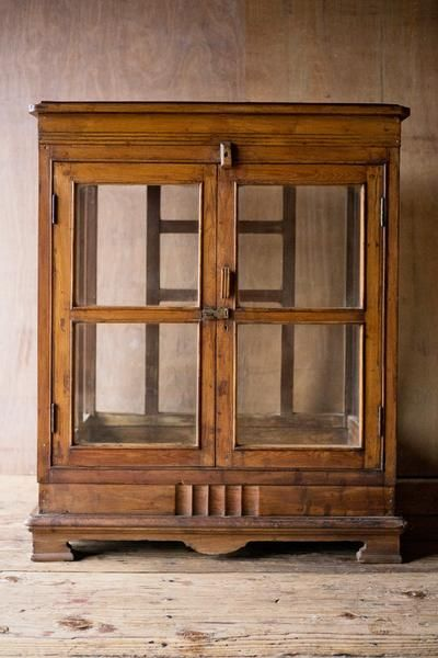Antique Wood And Glass Short Cabinet, Short China Cabinet