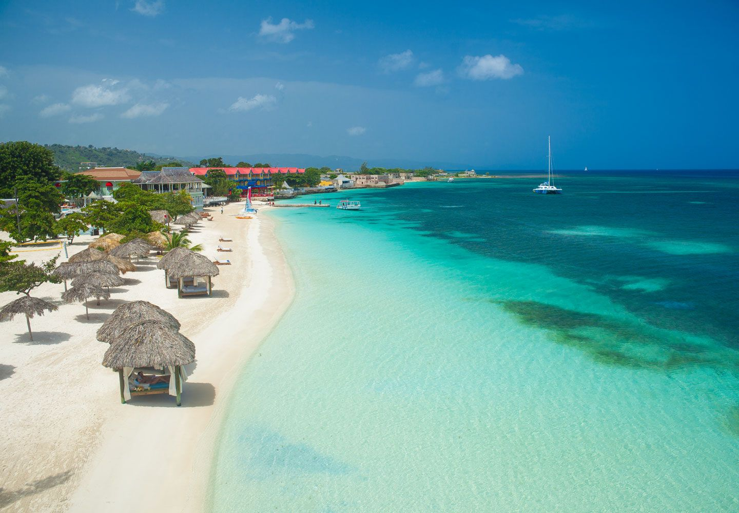 The Beach At Sandals Montego Bay On Caribbean Island Of Jamaica