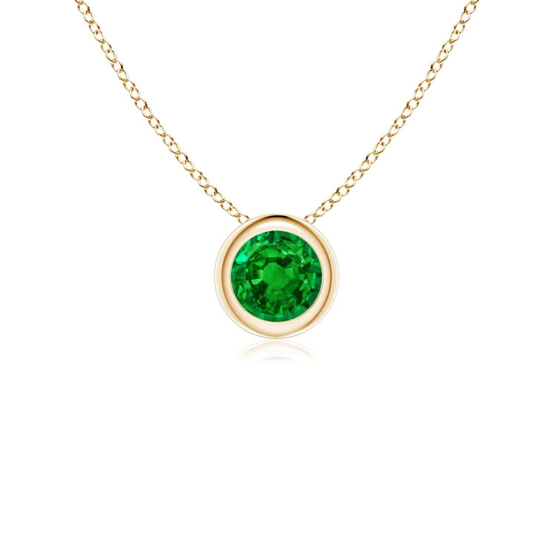Bezelset round emerald solitaire pendant fascinating emerald