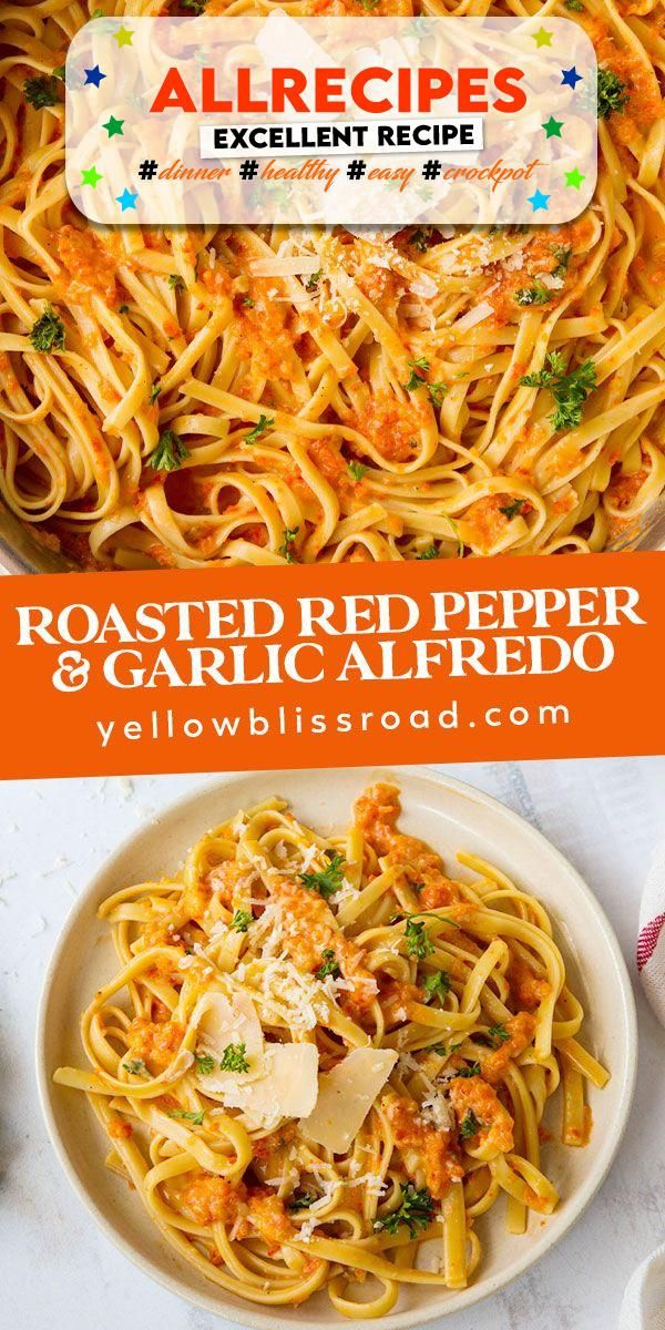 Roasted Red Pepper and Garlic Fettuccine Alfredo - #allrecipes #recipe #recipes - #nice Roasted Red Pepper Alfredo is sophisticated and delicious, made with roasted red peppers and roasted garlic. Top your pasta with something truly speci...