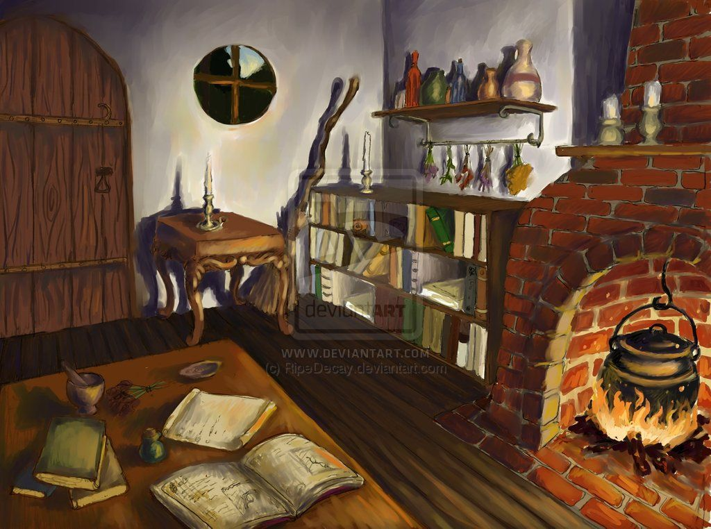 Inside a witch 39 s cottage witch 39 s cottage interior by for Witches cottage house plans