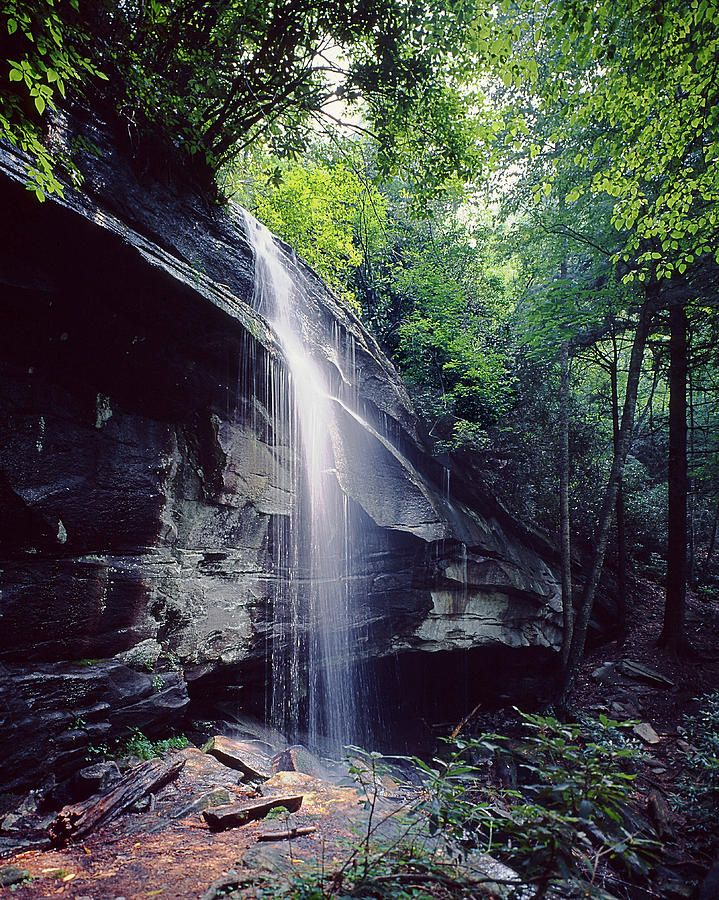 Waterfall Photograph Falls Near Brevard N C By John Rowe Scenic Photos Waterfall