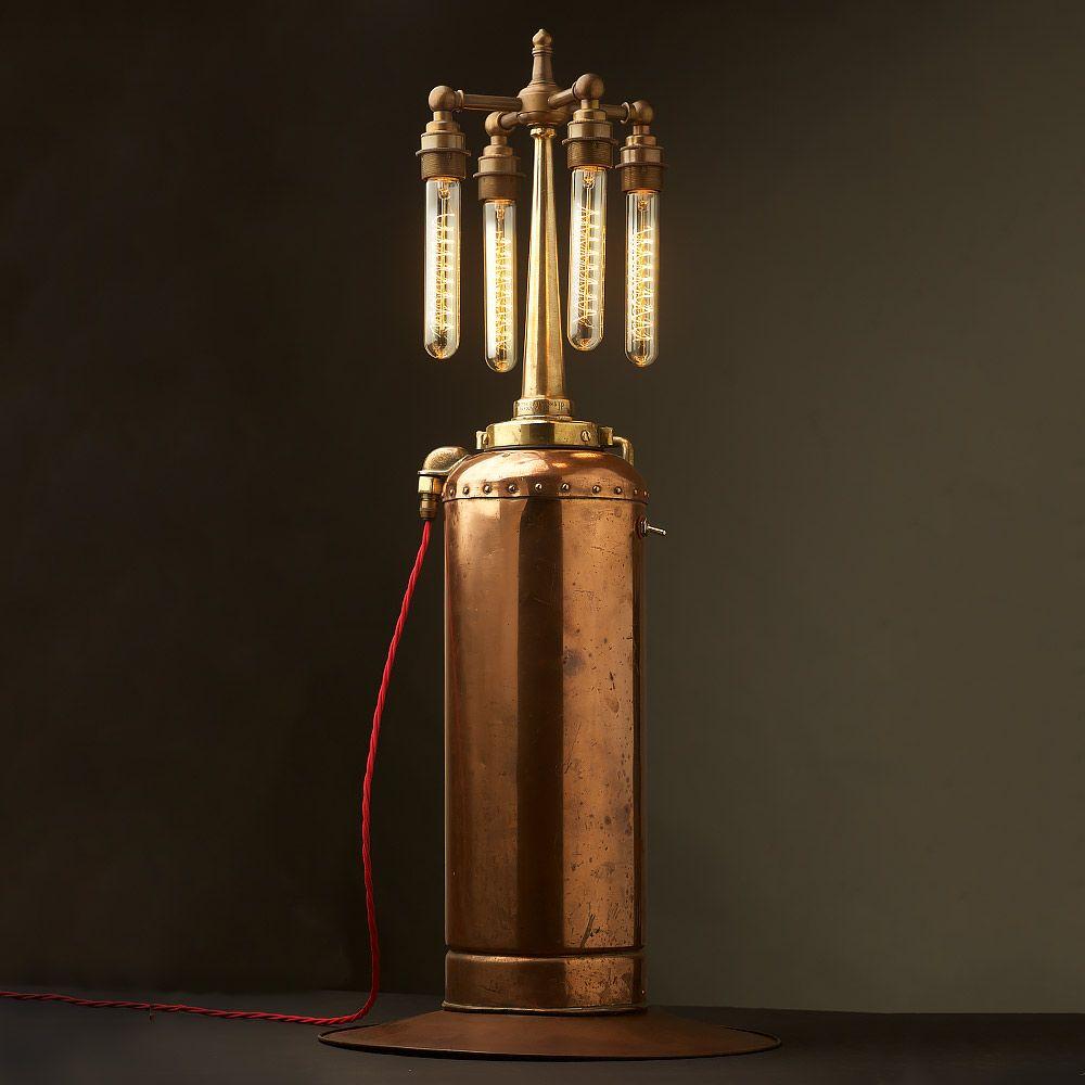 Copper U0026 Brass Fire Extinguisher And Fire Hose Nozzle Multi Bulb Lamp