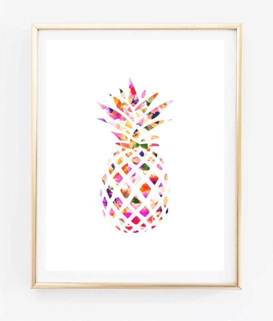 Floral pineapple painting art print room decor typographic for Floral bedroom decor