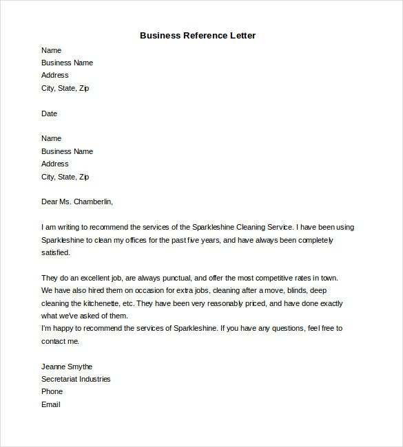 Free Business Reference Letter Word Format Download Template For