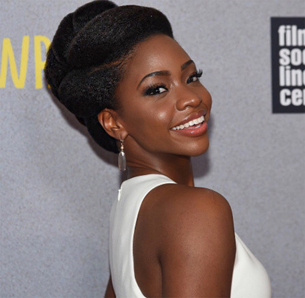 Teyonah Parris roll and tuck hairstyle for natural hair | Natural hair styles, Natural hair updo ...