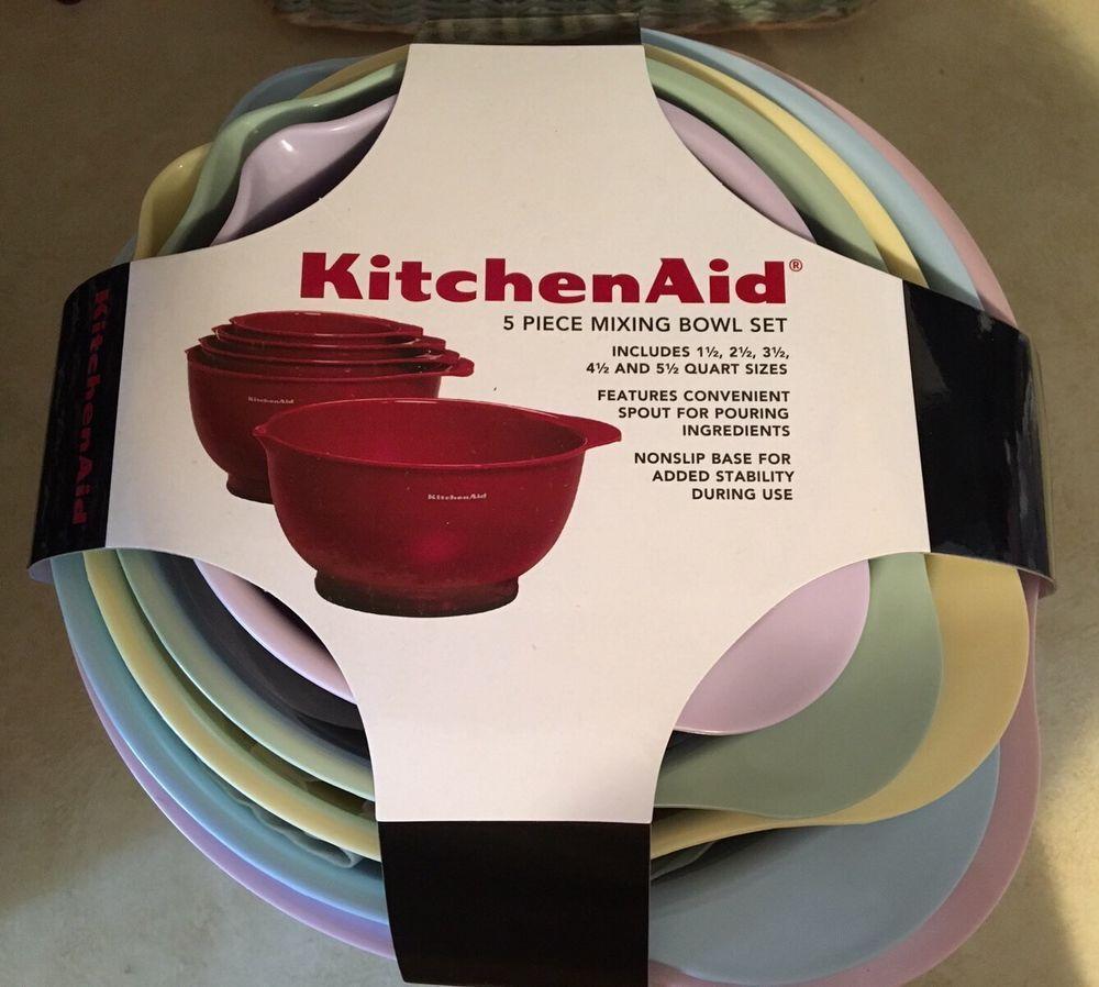 Kitchenaid 5 Piece Pastel Colors Mixing Bowl Set Spout Nonslip Base