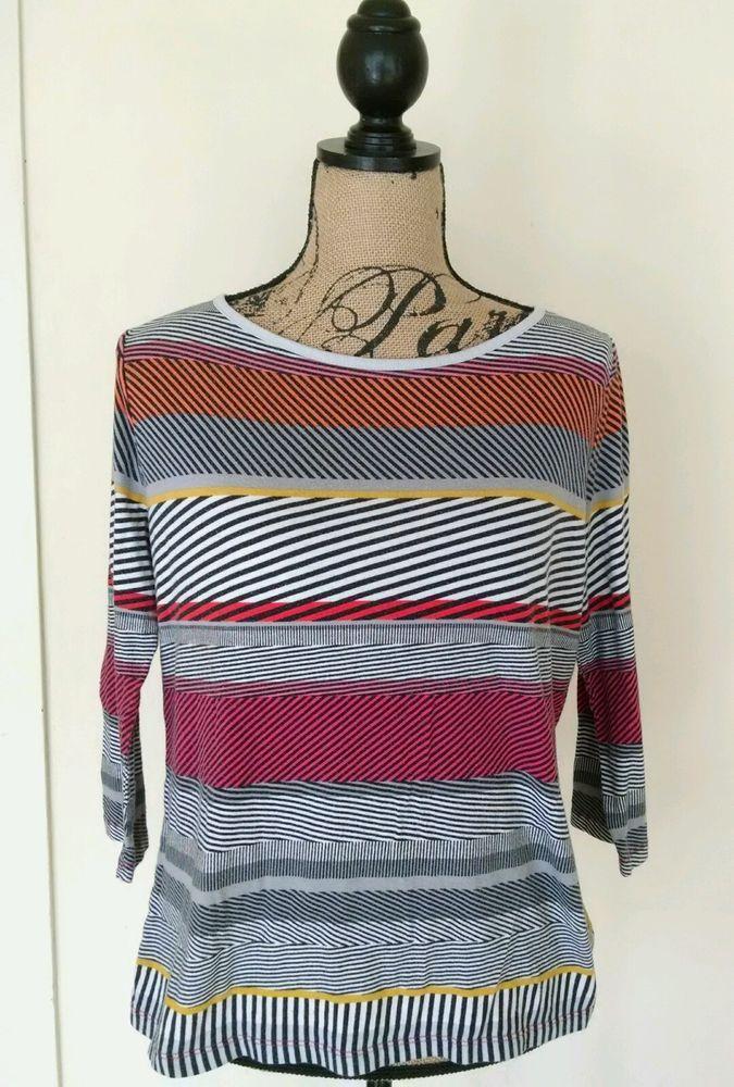Liz Claiborne Black Striped Blouse Shirt Size Large 3/4 Sleeves Women's  #LizClaiborne #TopBlouse