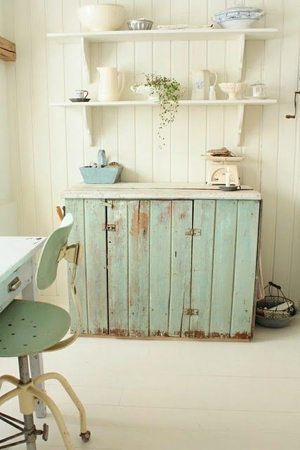 Cottage Decor: Distressed Kitchen Cabinet