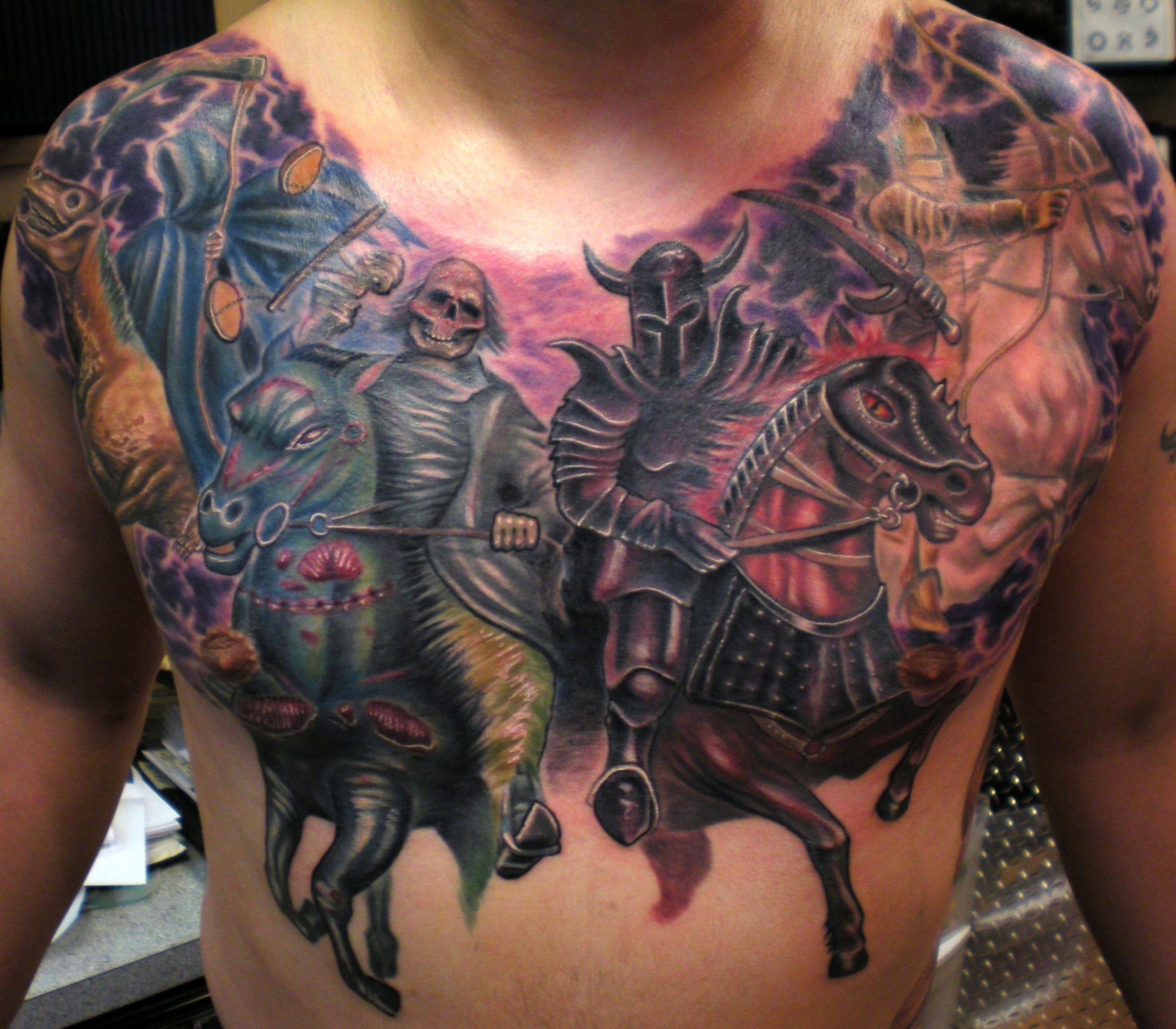 Four Horsemen Chest Tattoo Tattoos Death Tattoo