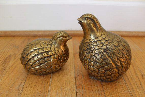 Pair of Brass Quail Vintage Brass Bookends. by ChippedGREENchair, $22.00