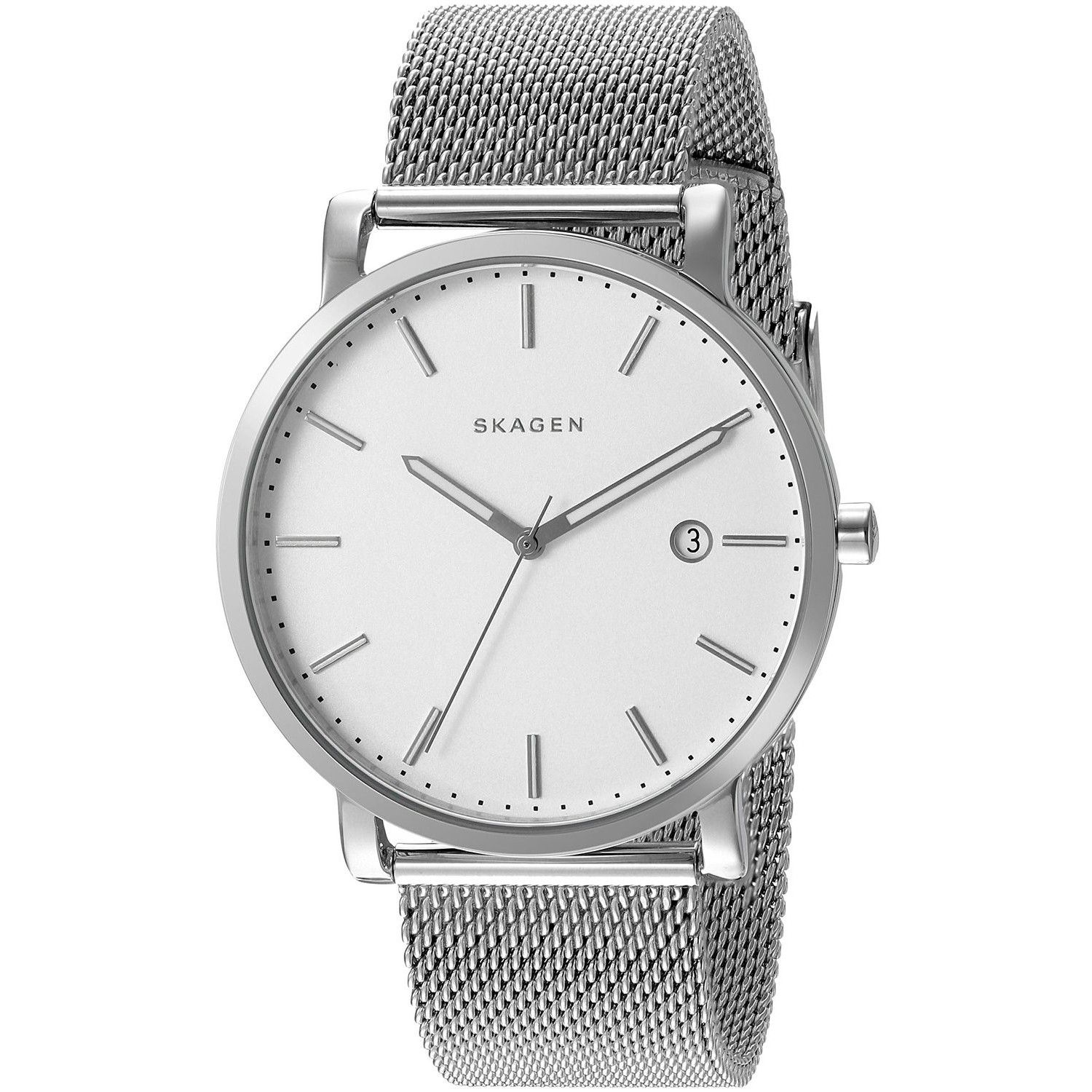 by pin watches hagen leather black watch skagen s men