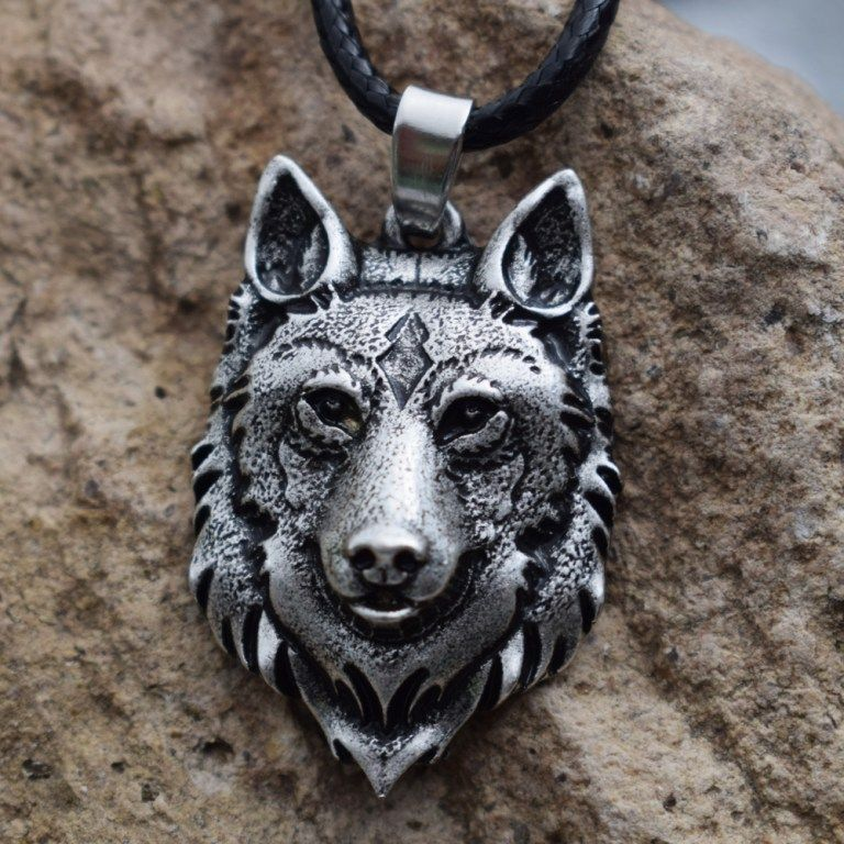 Wolf Head Pendant Amulet Necklace Norse vikings, Wolf