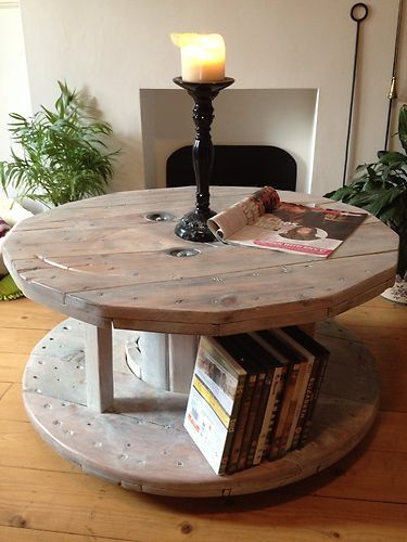 Reclaimed industrial solid wooden cable drum / reel table, shabby ...