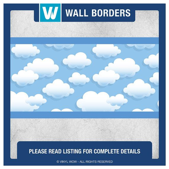 Wall Border Set SKY CLOUDS 24 ft x 4 in Decal by VinylWOW