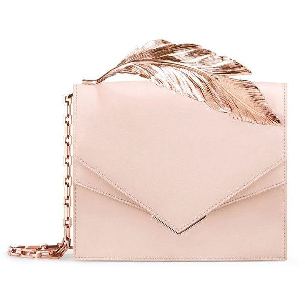 Ralph & Russo Alina Feather Clutch (€2.180) ❤ liked on Polyvore featuring bags, handbags, clutches, pink handbags, structured leather handbags, 100 leather handbags, real leather purses and structured leather purse