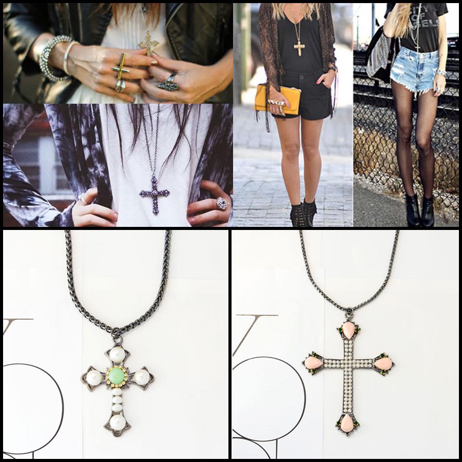 Colares rocker com crucifixos.