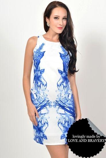 LAB KEISHA FLORAL PLACEMENT SHIFT DRESS BLUE