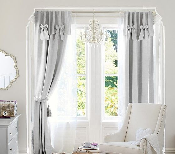 Evelyn Linen Blend Bow Valance Blackout Panel Pottery