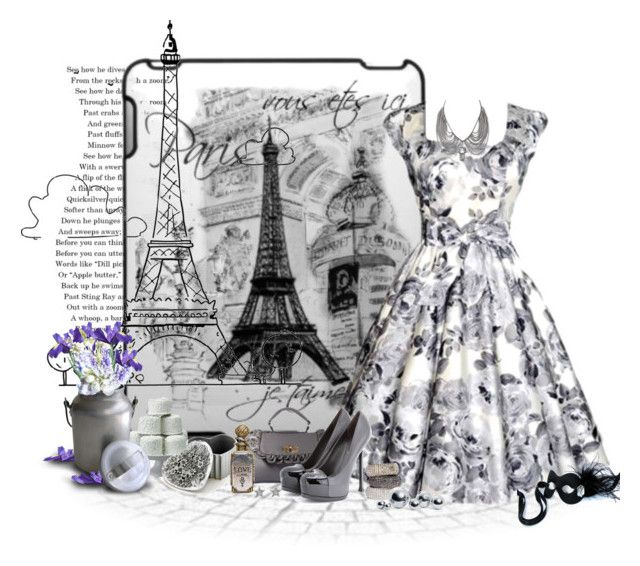 """""""je'taime Paris em cinza"""" by sil-engler ❤ liked on Polyvore featuring Yves Saint Laurent, LSA International, Bocage, Tasha and Masquerade"""
