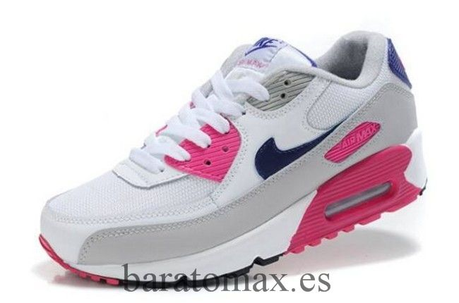 premium selection c7d86 966ff Nike Air Max 90 Blanco Rosado Gris Lava Glass Mujer Zapatos