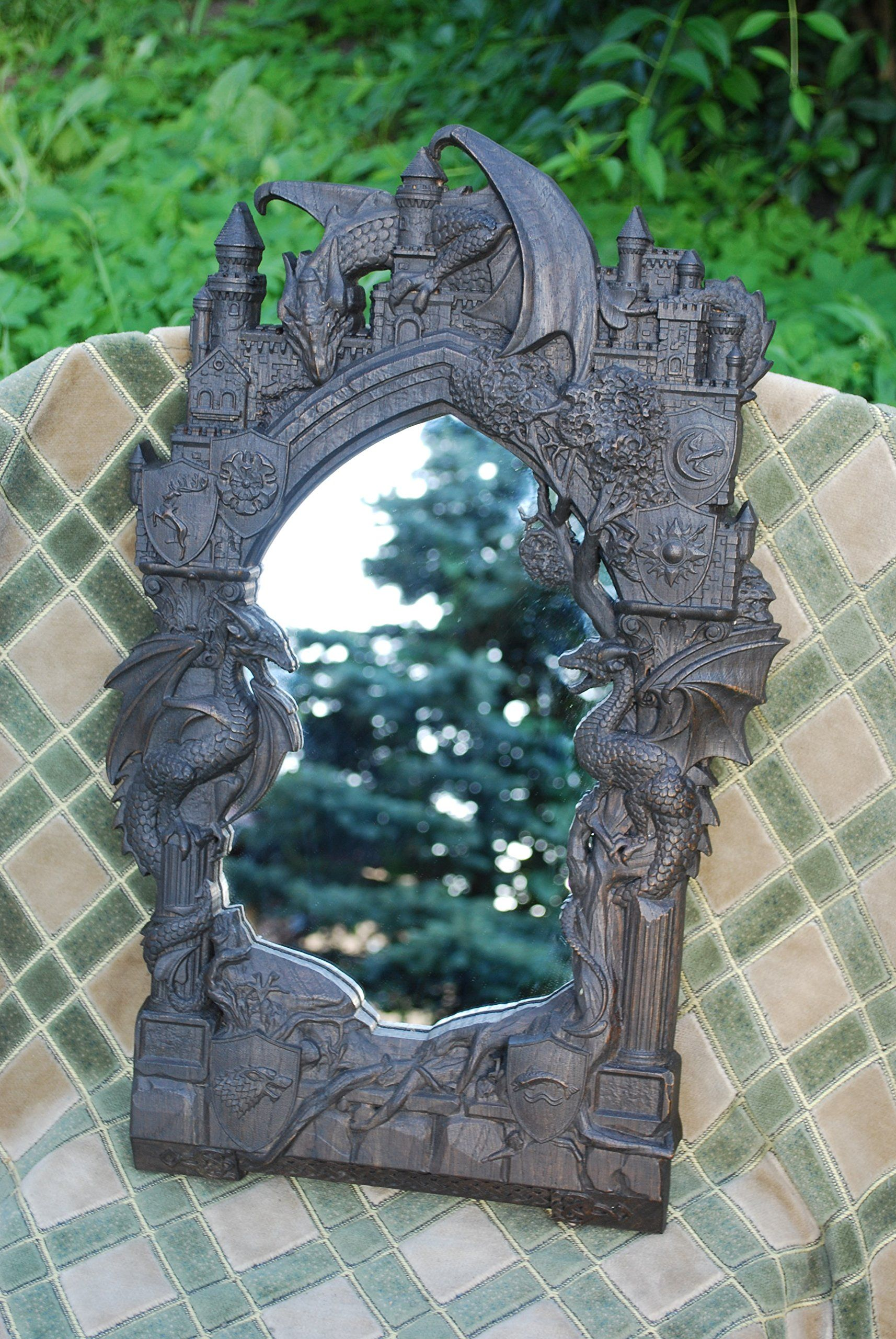 Game of thrones mirror wood carving wall art cosplay mirror free