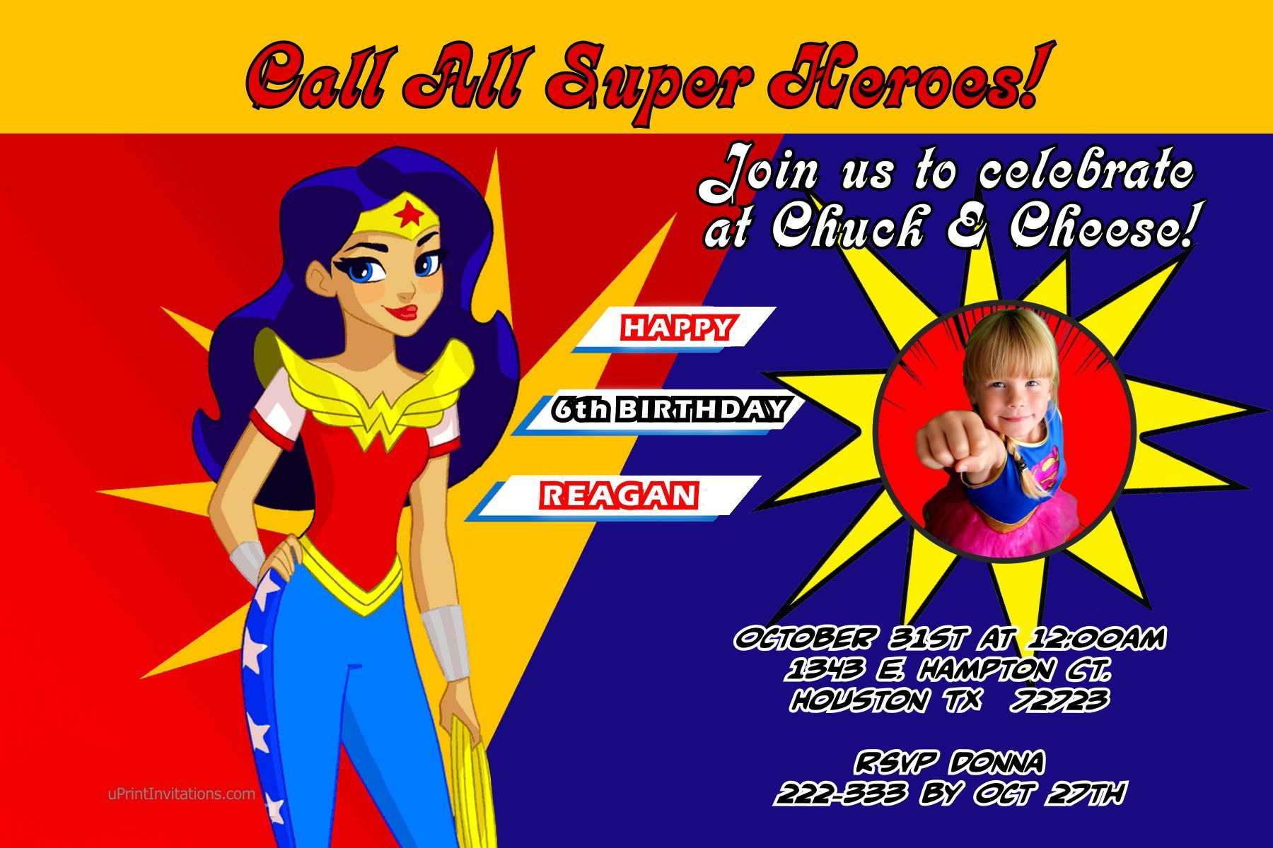 Wonder Woman Birthday Invitations Digital Download Get these