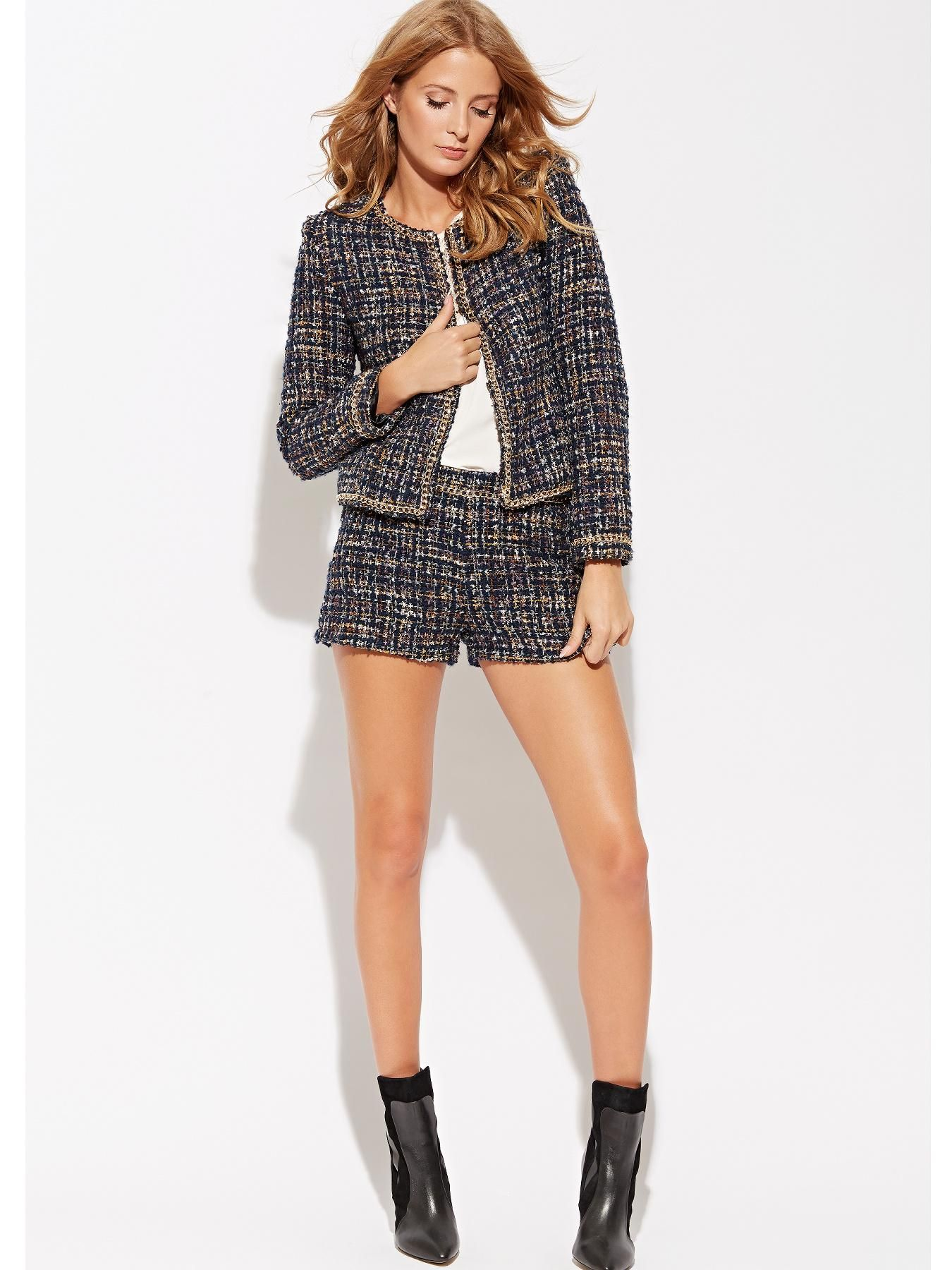 ead13ba1 How gorgeous is this tweed co-ord set with gold trim? Millie Mackintosh  Tweed Jacket | very.co.uk
