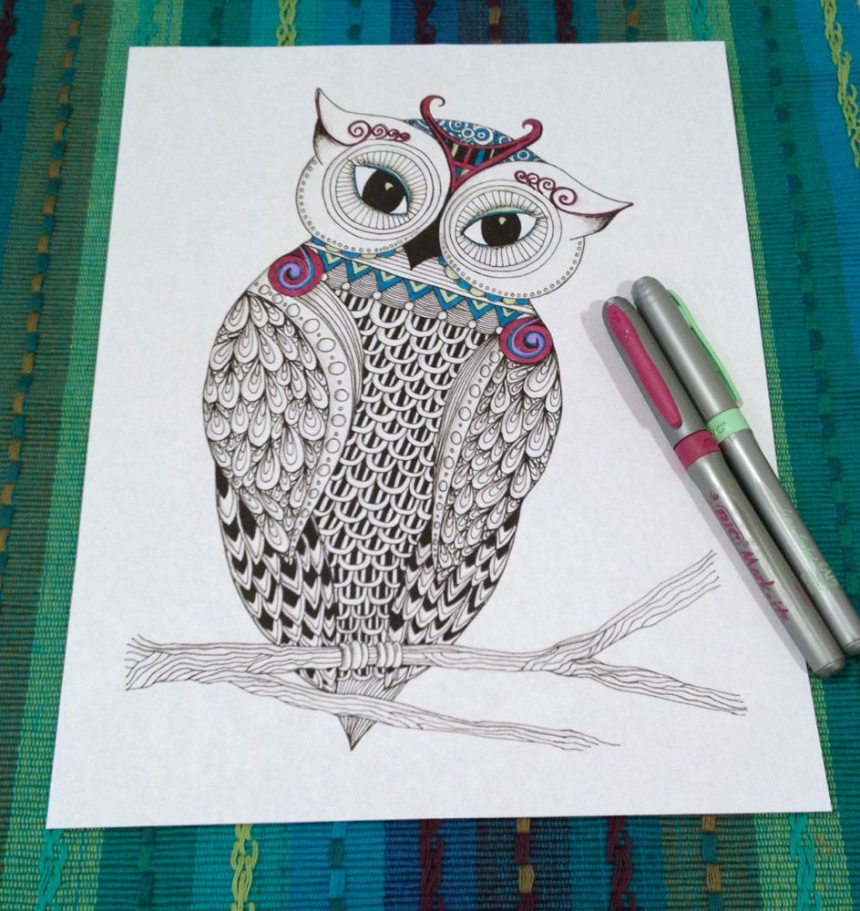 adult coloring owl green - Google Search | adult coloring ...