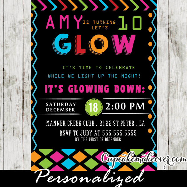 Glow In The Dark Dance Party Invitations Girls Neon Colors – Dance Party Invites
