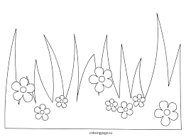 Grass With Flowers Coloring Page Coloring Pages Spring Coloring Pages Spring Crafts