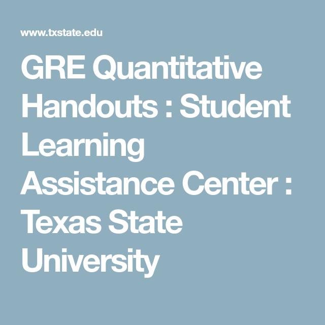 GRE Quantitative Handouts : Student Learning Assistance Center ...