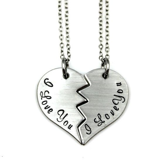 Best Friends Gift I Love You Split Heart Set Hand Stamped In Stainless Steel By