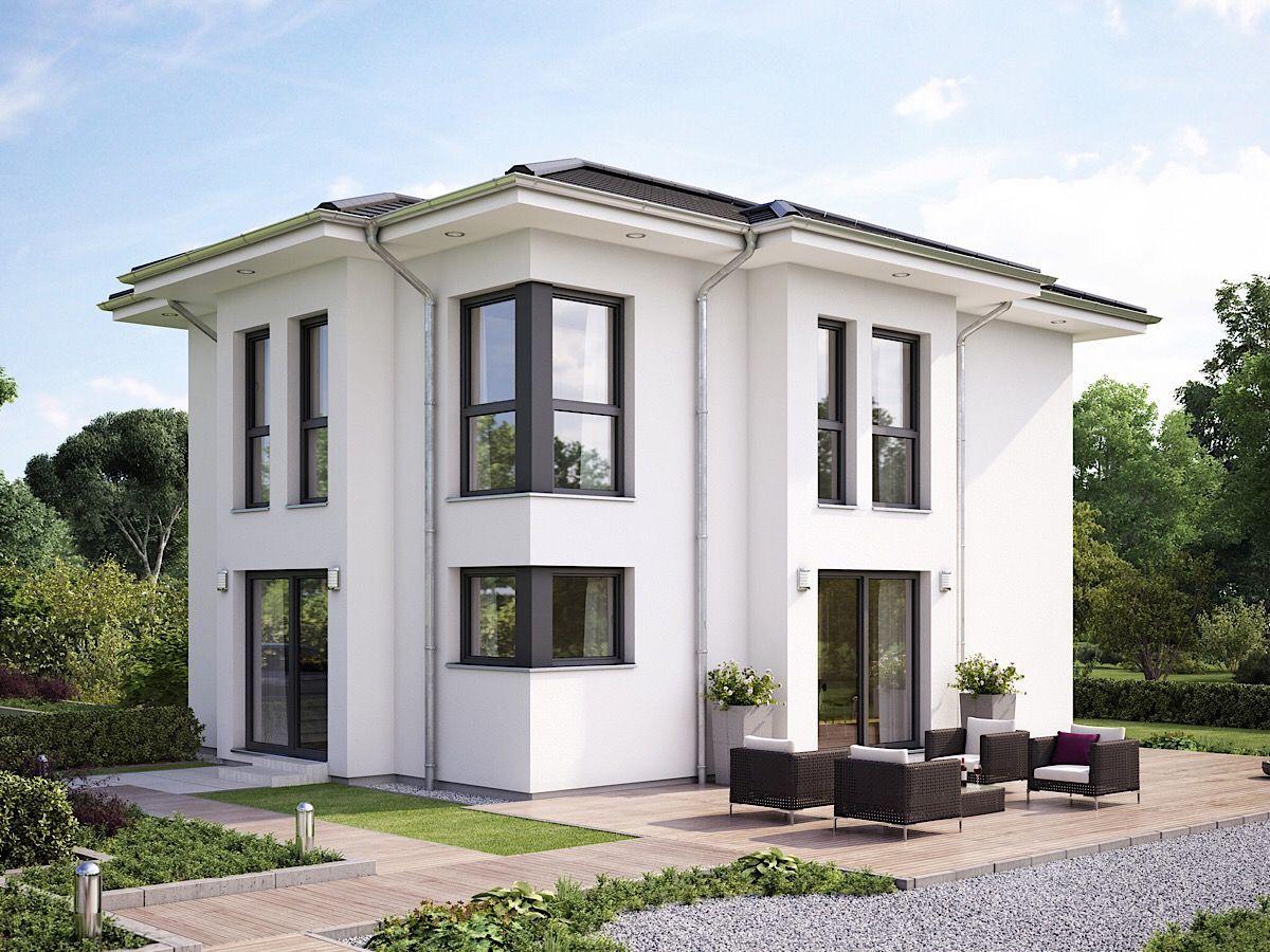 Moderne Fertighaus Stadtvilla Klassisch Mit Walmdach Architektur Giebel Erker Haus Bauen Ideen Einfamilienhaus Evolu Haus Haus Architektur Haus Aussendesign