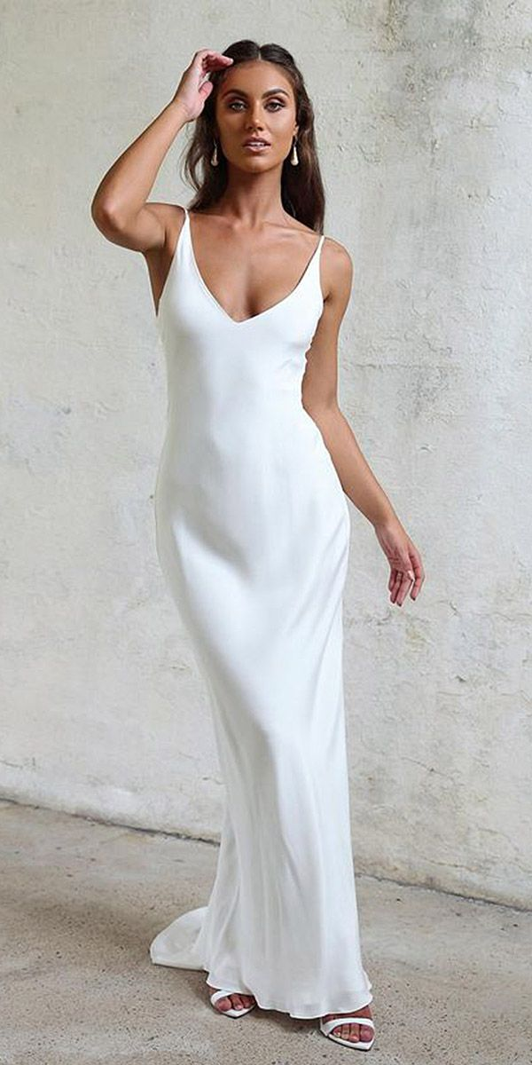 21 Excellent And Elegant Silk Wedding Dresses Sheath Spaghetti Straps Simple Grace