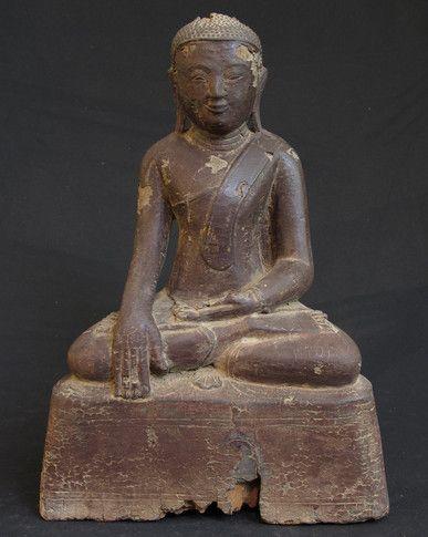 Antique Burmese Buddha from Burma, made of Wood
