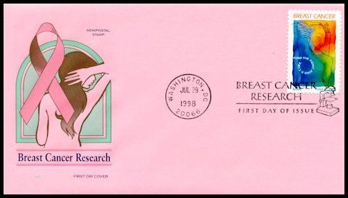 This beautiful pink cover was custom made for Dr. Marvin Speer, a House of Farnam collecting specialist.  He contracted with Mike Zoeller at Artmaster (who now makes Farnam) to make this HF variety for the Breast Cancer Research stamp, that consisted of the normal HF cachet on a pink envelope with a DC slogan cancellation. The good doctor created this special edition to surprise and support his wife who is an active volunteer in support of breast cancer treatment and cure.