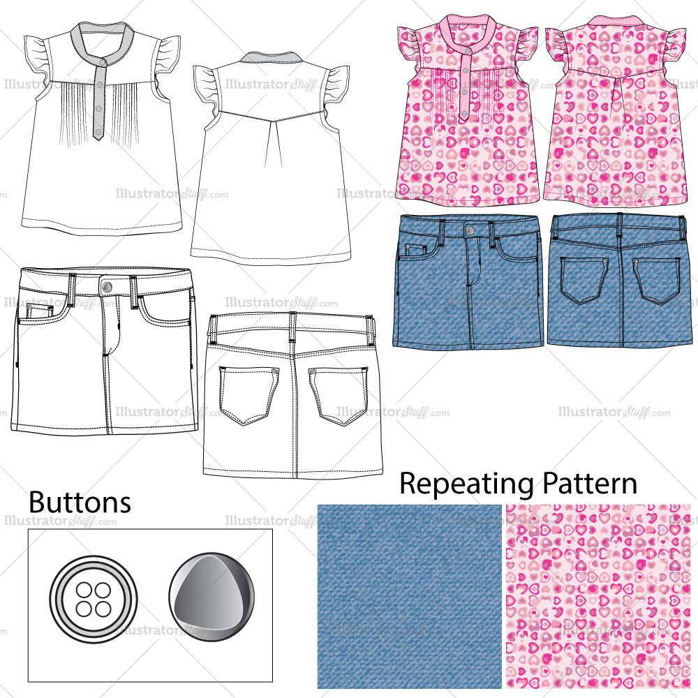 Tops fashion design sketches flat fashion sketch top 045 - Girls Top Denim Skirt Fashion Flat Templates