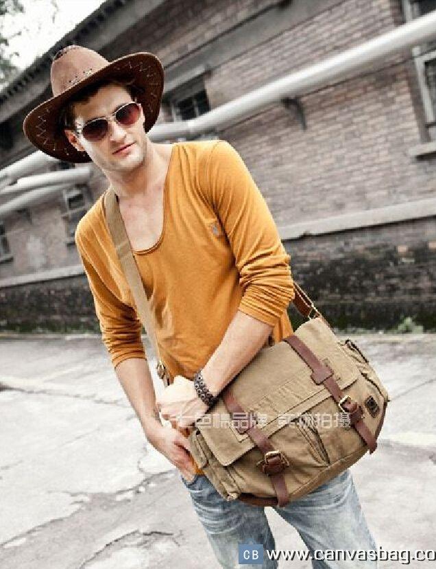 Military Style Leather Deco Canvas Messenger Shoulder Bag Khaki