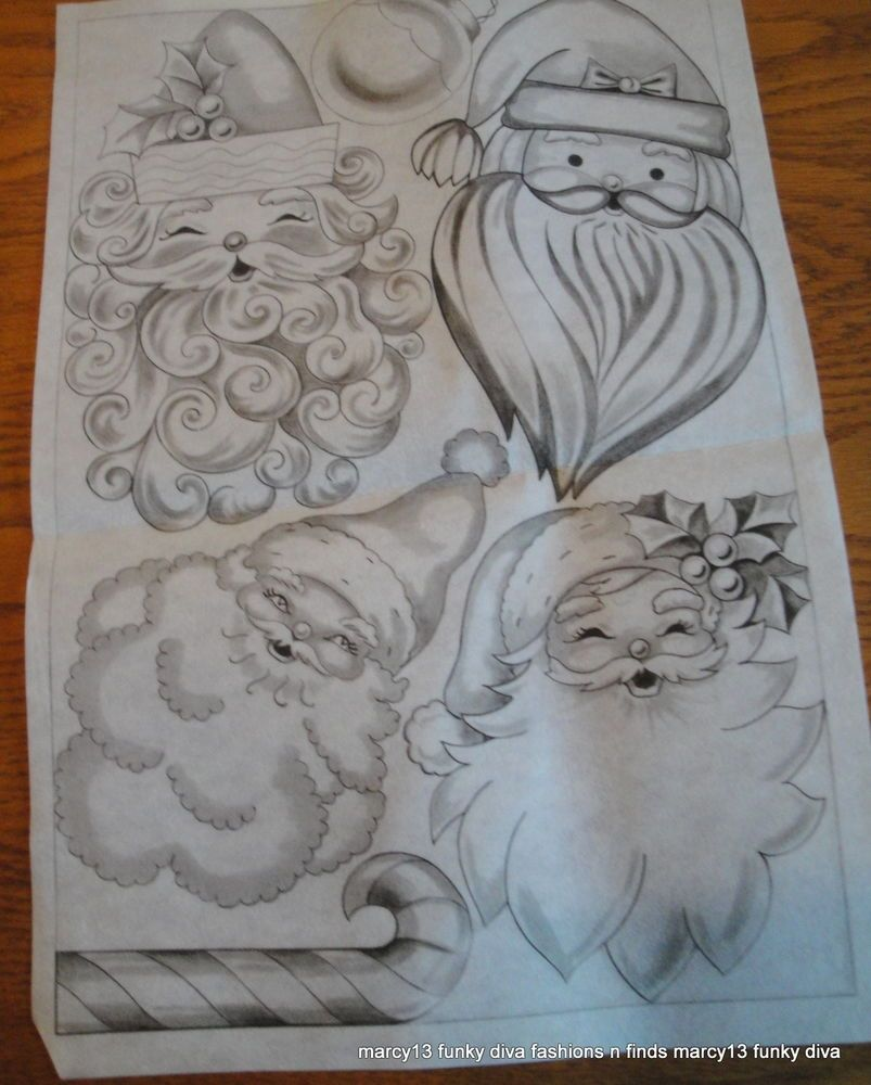 Vintage Stamped Fabric for Fabric Paint Santa Claus Heads Ornaments Decorations #Unbranded