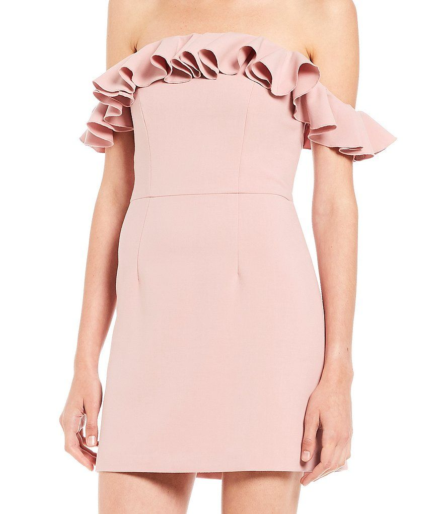 French Connection Whisper Light Off The Shoulder Ruffle Dress Street Style Outfit Shoulder Ruffle Dress Ruffle Dress [ 1020 x 880 Pixel ]