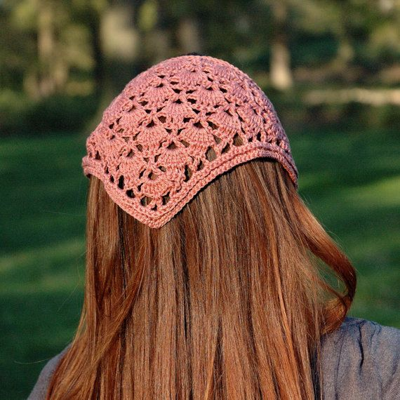 Head Kerchief, Crochet Hair Bandana, Crochet Lace Headband, Hair ...
