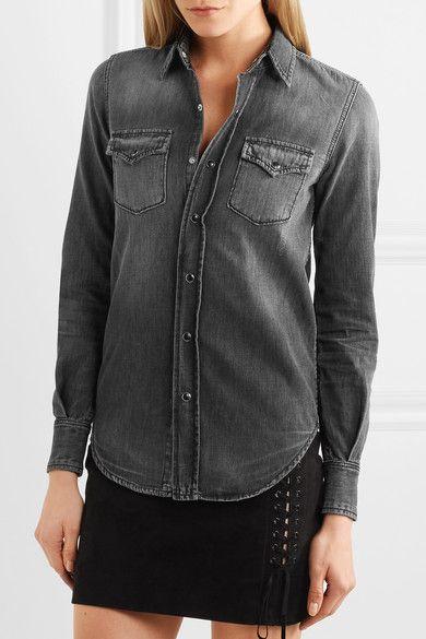 a492dc706c Saint Laurent - Denim Shirt - Charcoal. Charcoal denim Snap fastenings  through front ...